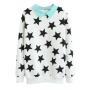 Contrast Collar Zip Back Sweatshirt in Star Print