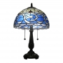 Two Lights Pull Chain Tiffany Lamp in Antique Bronze Finished Base