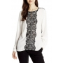Eyelash Lace Patchwork Long Sleeve Round Neck Color Block Shirt