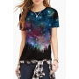 Women's Fashion Galaxy Print Round Neck Short Sleeve Basic T-Shirt
