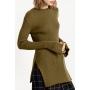 Women's Plain Bell Long Sleeve Split Sides Tunic Sweater