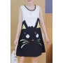 Round Neck Sleeveless Cute Cat Printed Color Block Oversize Mini A-Line Tank Dress
