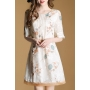 Summer's Fresh Floral Printed Round Neck Half Sleeve A-Line Mini Dress