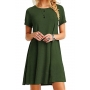 Casual Short Sleeve Round Neck Plain Mini Swing Dress