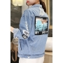 New Fashion Letter Printed Ripped Lapel Collar Long Sleeve Buttons Down Denim Jacket