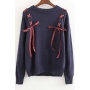 New Stylish Color Block Lace-Up Round Neck Long Sleeve Pullover Sweater