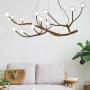 Modern Height Adjustable Wood Branching Chandelier 24/36/48W LED 8/12/16 Light Glass Globe Chandelier for Living Room Restaurant Bar Bulb Included