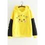Lovely Cartoon Pikachu Print Colorblock Flash Long Sleeve Yellow Ear Hoodie