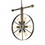 Wrought Iron Wheel Shaped Chandelier Nautical Industrial Style 5 Light Hanging Pendant for Restaurant Farmhouse