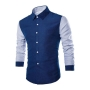 Men's Fashion Allover Printed Colorblocked Long Sleeve Slim Fit Button-Up Shirt