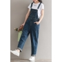 Women's Classic Blue Plain Pockets Details Denim Overall Jumpsuits