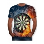 Trendy Cool 3D Fire Dart Board Printed Short Sleeve Round Neck T-Shirt