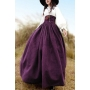 Womens Fashion Vintage Double-Breasted High Waist Maxi Swing Skirt