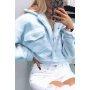 Womens Fashion Solid Color Single Breasted Long Sleeve Teddy Crop Coat with Flap Pocket