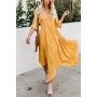 Gorgeous Ladies' Three-Quarter Sleeve Deep V-Neck Floral Embroidered Pleated Asymmetric Maxi Bohemian Flowy Dress in Yellow