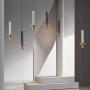 Marble Sword Shaped Pendant Lamp Designer Black/White/Beige and Brass LED Hanging Ceiling Light